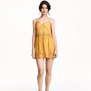 H&M Sleeveless Lace Crochet Golden Sun Dress